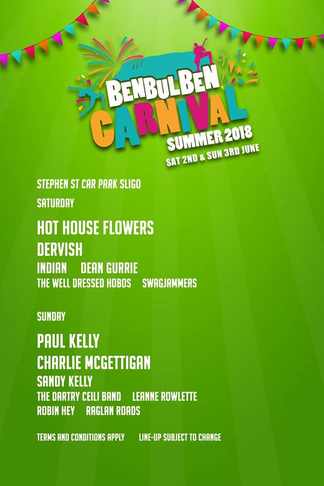 The benbulben carnival line up 2018